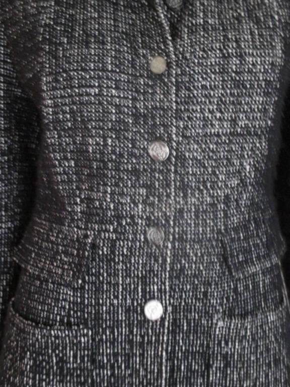 chanel 02 black and white wool blend tweed blazer 2