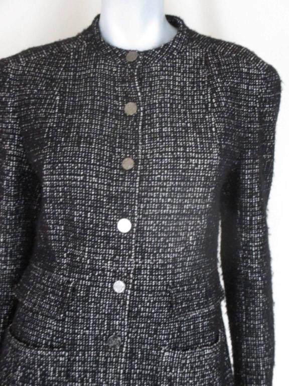 chanel 02 black and white wool blend tweed blazer 8