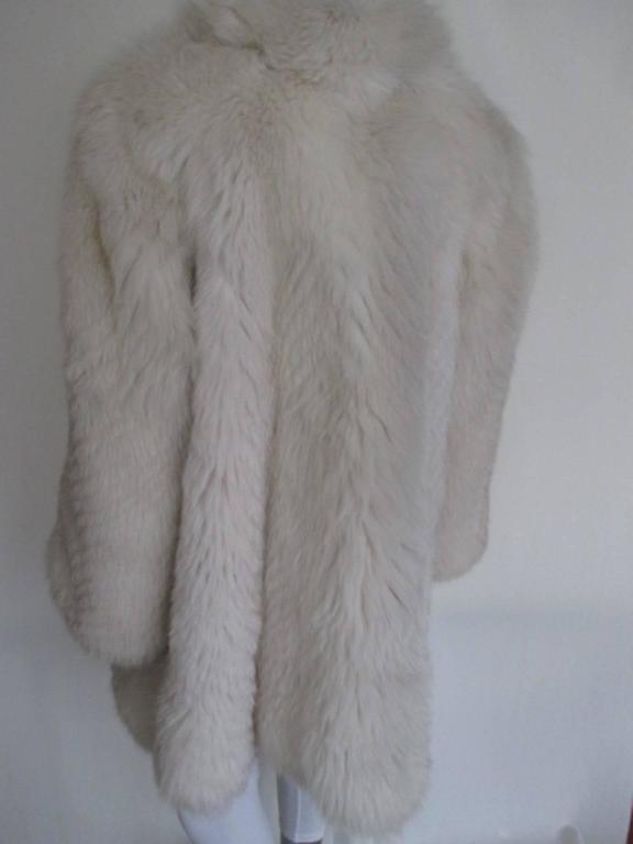 Gray soft fox fur coat For Sale