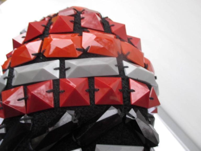 Black multi colored studs hat For Sale