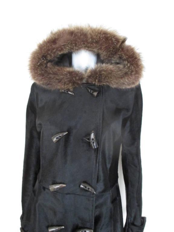 Dolce & Gabbana Hooded Black Pony Fur Coat For Sale 5
