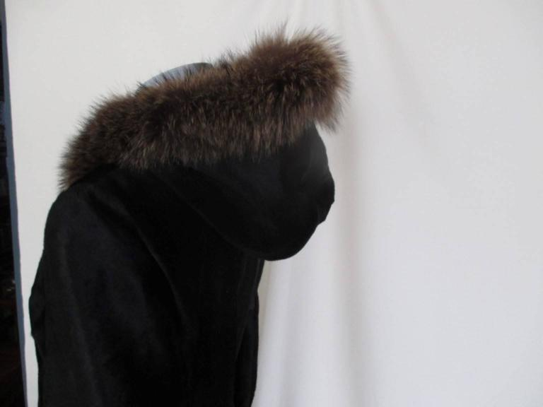 Dolce & Gabbana Hooded Black Pony Fur Coat For Sale 4