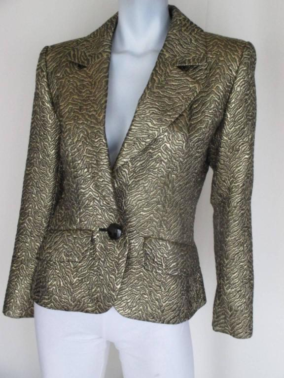Yves Saint Laurent Gold Metallic Jacket In Excellent Condition For Sale In Amsterdam, NL