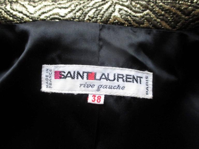 Gray Yves Saint Laurent Gold Metallic Jacket For Sale