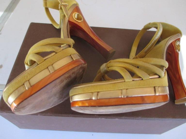 Brown louis vuitton collection cleo pompeii high heels For Sale