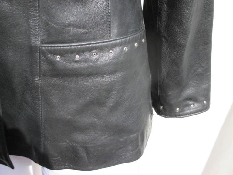 pierre cardin black leather jacket In Excellent Condition For Sale In Amsterdam, NL