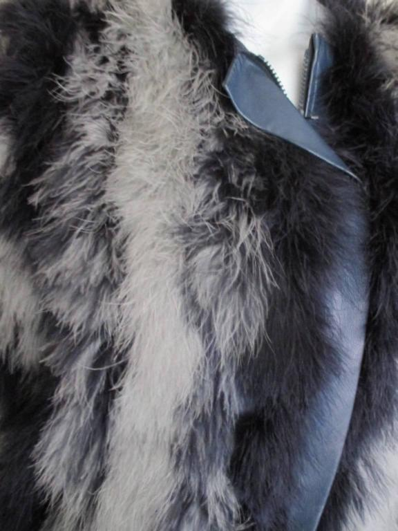7a18c8a65f6 yves saint laurent blue grey marabou feather- jacket In Good Condition For  Sale In Amsterdam