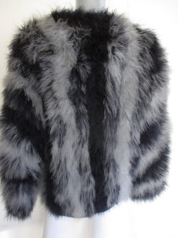 3db581c3c6e Women's or Men's yves saint laurent blue grey marabou feather- jacket For  Sale