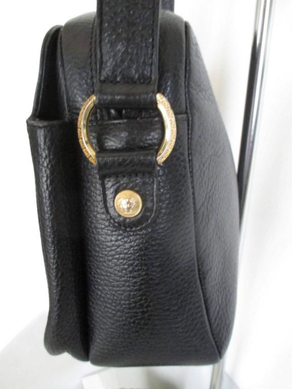 gianni versace black leather medusa bag 3