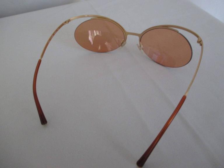 Gray rare 90's chanel gold metal sunglasses For Sale