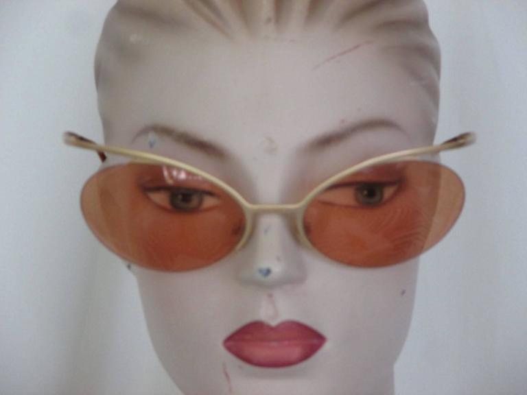 rare 90's chanel gold metal sunglasses For Sale 2