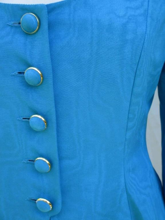 nina ricci paris turquoise jacket with skirt For Sale 4