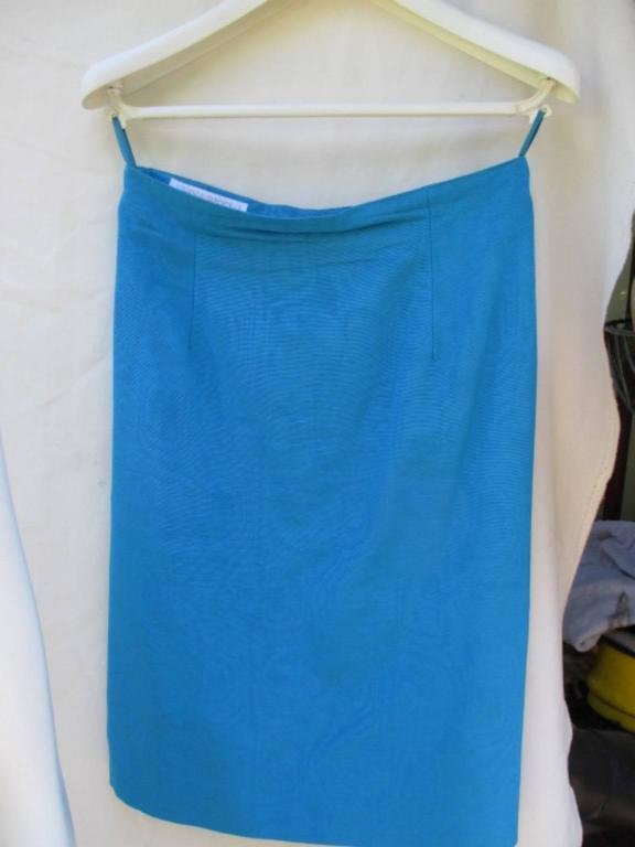 nina ricci paris turquoise jacket with skirt For Sale 2