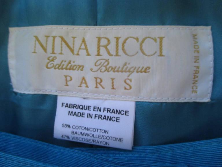 Blue nina ricci paris turquoise jacket with skirt For Sale