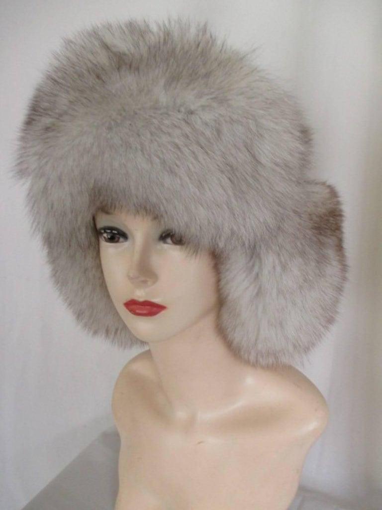 Women's or Men's arctic fox fur trapper hat For Sale