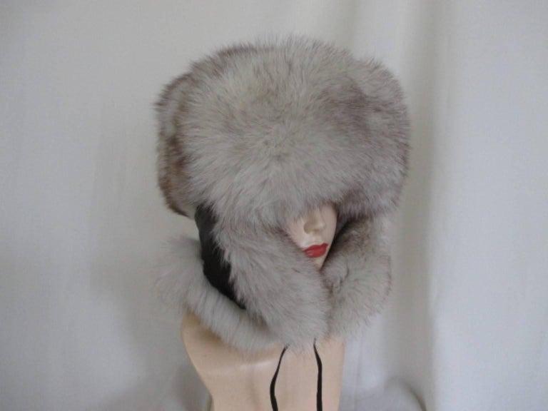 Gray arctic fox fur trapper hat For Sale