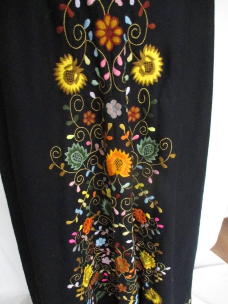 Black Embroidered Vintage Cape with Hood For Sale 1