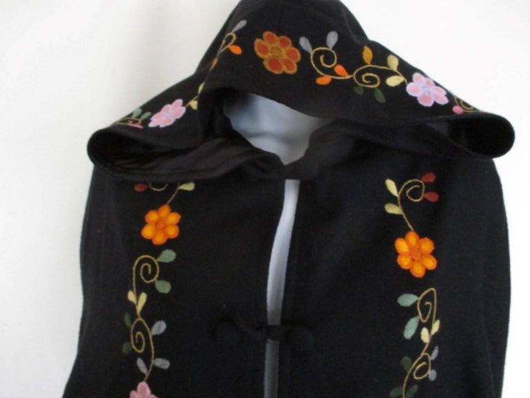 Women's or Men's Black Embroidered Vintage Cape with Hood For Sale