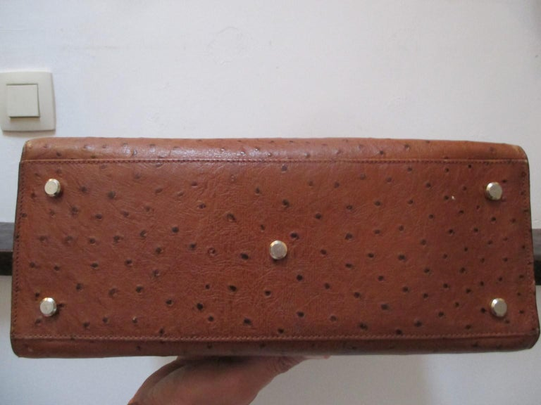 Vintage Brown Ostrich Leather Bag  In Good Condition For Sale In Amsterdam, NL