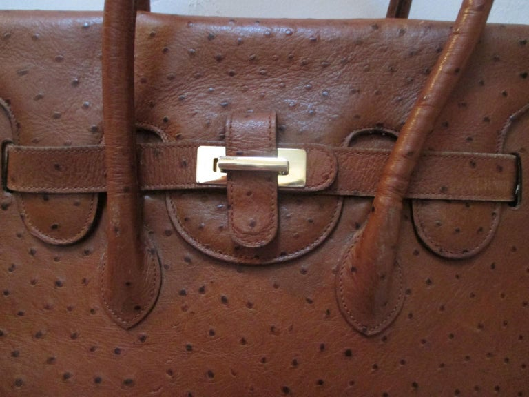 Women's or Men's Vintage Brown Ostrich Leather Bag  For Sale