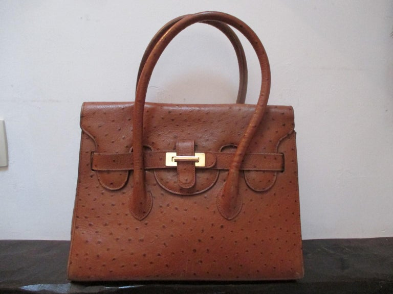 Vintage Brown Ostrich Leather Bag  For Sale 4