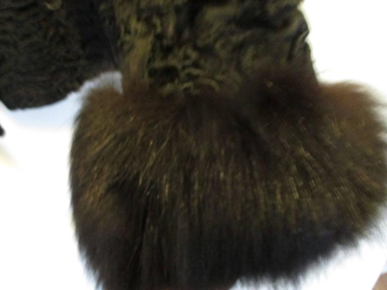 Black persian Lamb/Astrakhan fur jacket with fox details For Sale 4