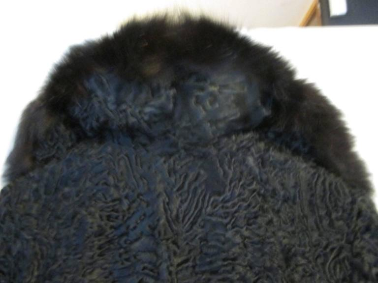 Black persian Lamb/Astrakhan fur jacket with fox details For Sale 2