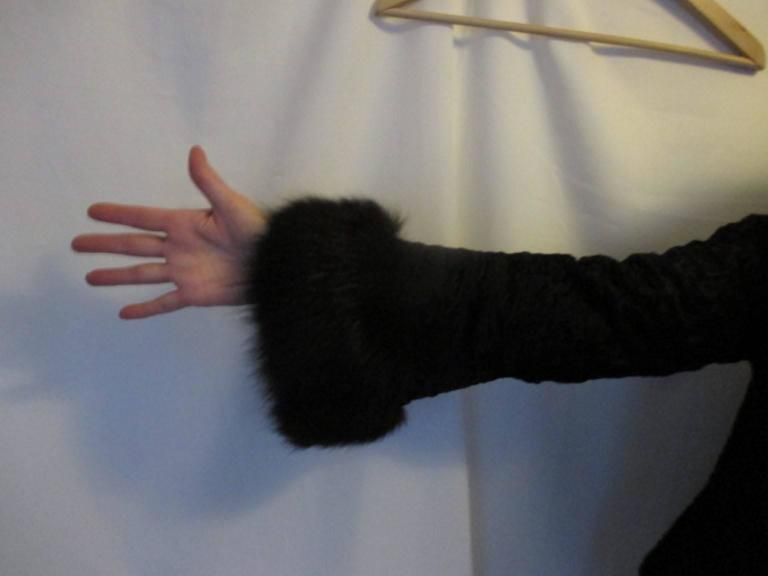 Black persian Lamb/Astrakhan fur jacket with fox details For Sale 1