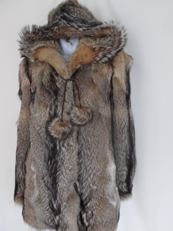 Rustic Wolf Hooded Fur Jacket At 1stdibs