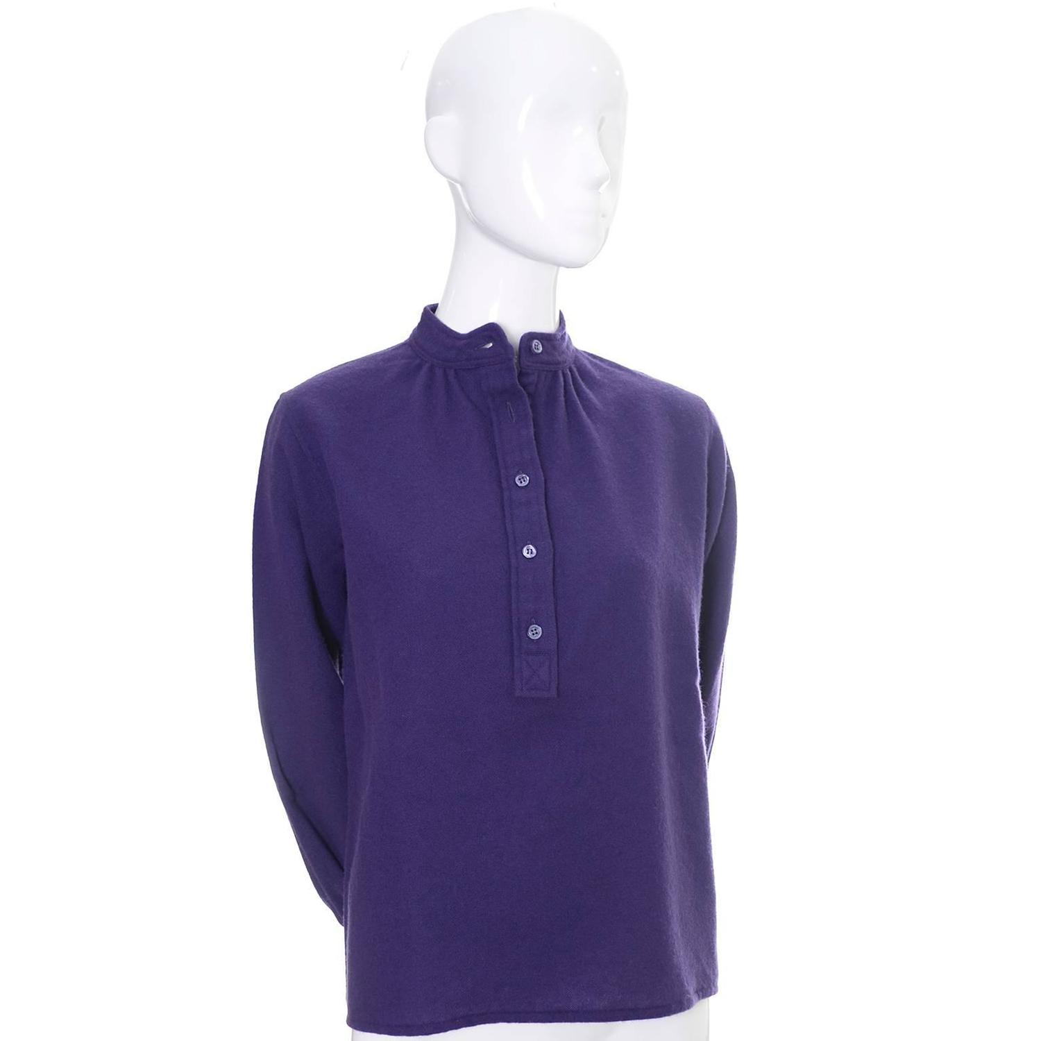 Ysl Purple Peasant Blouse 73