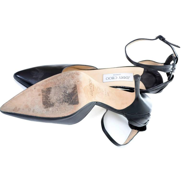 Jimmy Choo London Ankle Strap Shoes Black Leather Heels Pointed Toe 40 10 For Sale 3
