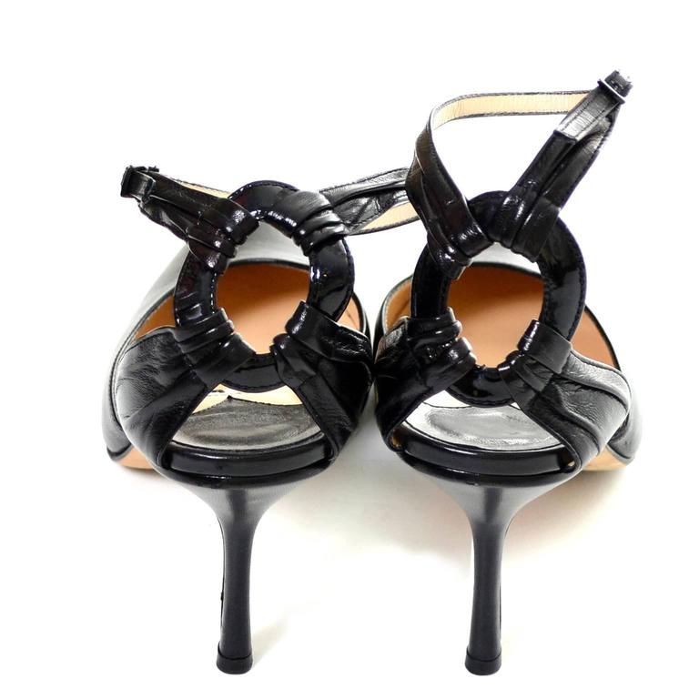 Jimmy Choo London Ankle Strap Shoes Black Leather Heels Pointed Toe 40 10 For Sale 1