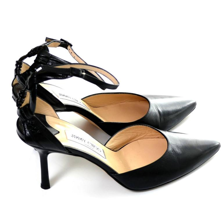 Jimmy Choo London Ankle Strap Shoes Black Leather Heels Pointed Toe 40 10 For Sale 2