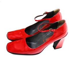 1990s Miu Miu Vintage Red Patent Leather Square Toe Mary Jane Shoes Heels 38