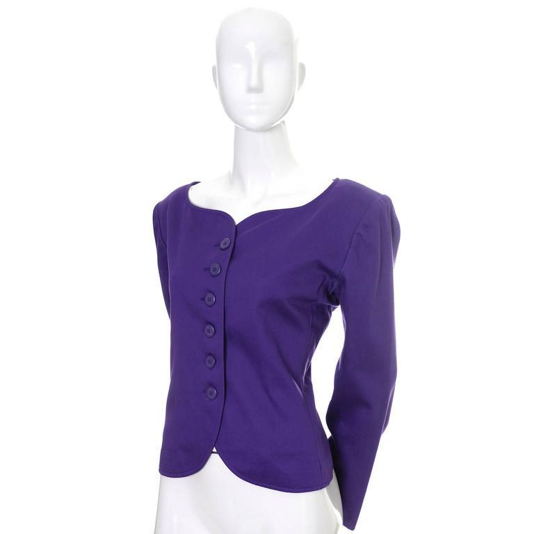 Vintage YSL Blazer Purple Yves Saint Laurent Size 40 Rive Gauche 2