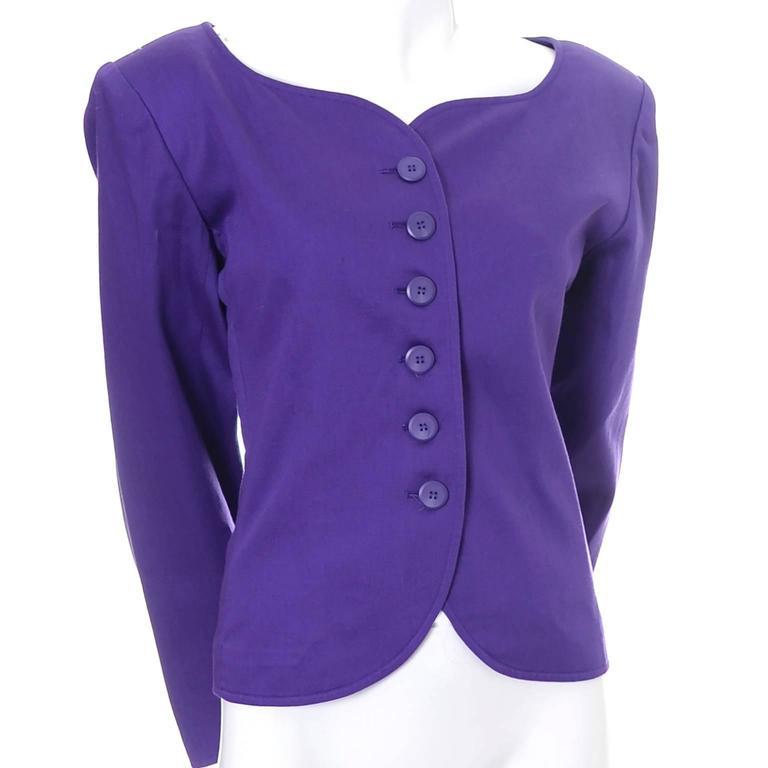 Vintage YSL Blazer Purple Yves Saint Laurent Size 40 Rive Gauche 3