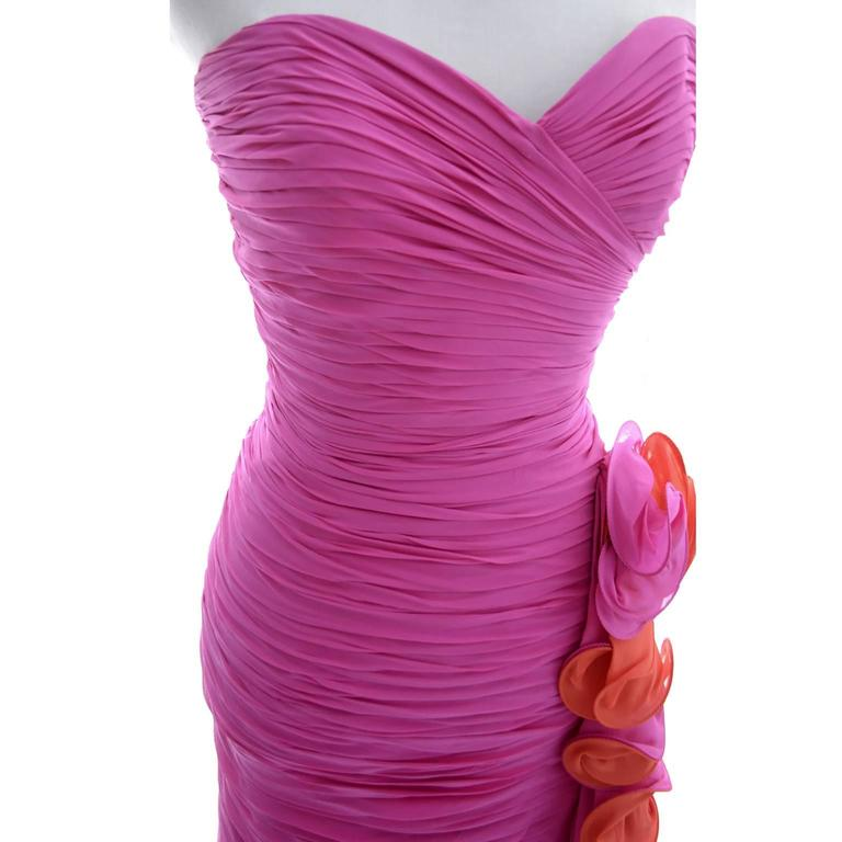 Silk Chiffon Vintage A J Bari Strapless Pink Orange Wiggle Dress, 1980s  In Excellent Condition For Sale In Portland, OR