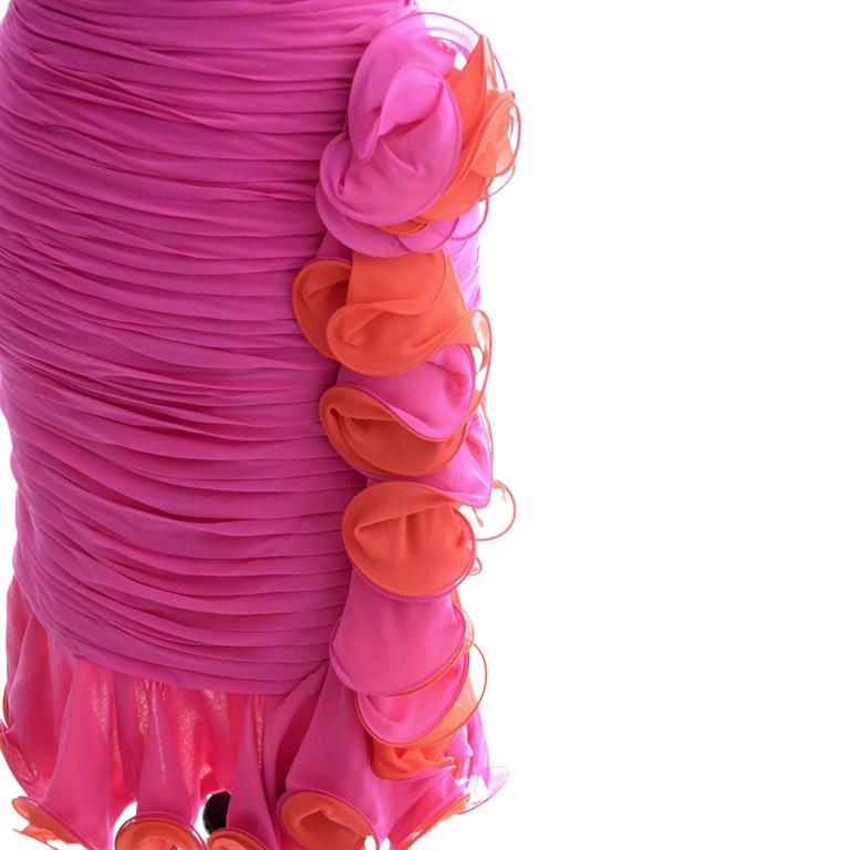Women's Silk Chiffon Vintage A J Bari Strapless Pink Orange Wiggle Dress, 1980s  For Sale