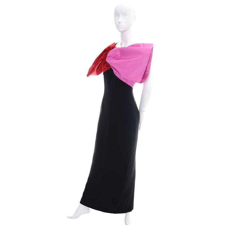 Black Bill Blass Vintage Dress Evening Gown 1980s Pink Red Bow Statement Dress