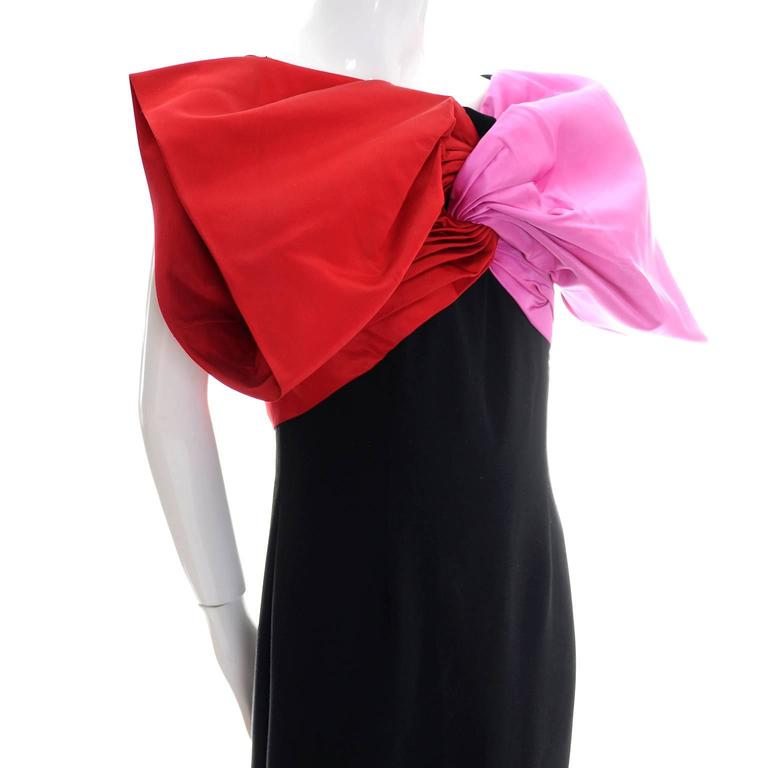 Bill Blass Vintage Dress Evening Gown 1980s Pink Red Bow Statement Dress In Excellent Condition In Portland, OR