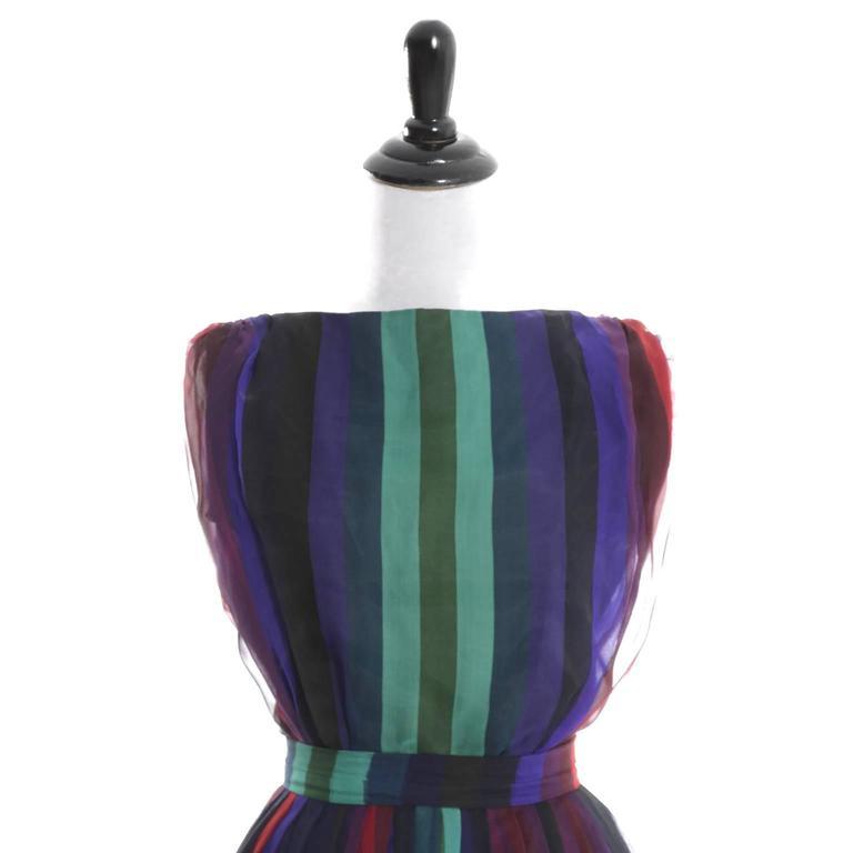1960s Silk Chiffon Vintage Dress 2 pc Stripes Nathalie of California Bullock's  4