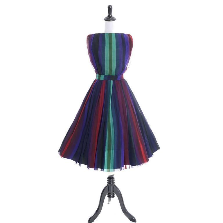 1960s Silk Chiffon Vintage Dress 2 pc Stripes Nathalie of ...