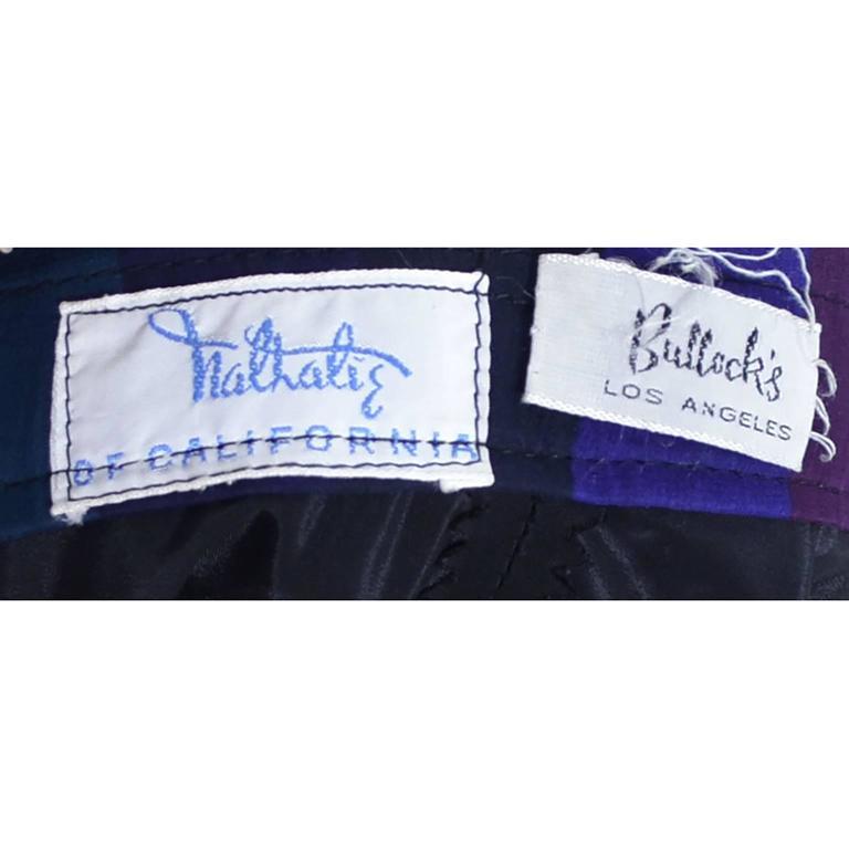 1960s Silk Chiffon Vintage Dress 2 pc Stripes Nathalie of California Bullock's  5