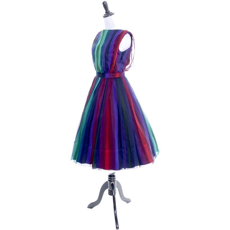 1960s Silk Chiffon Vintage Dress 2 pc Stripes Nathalie of California Bullock's  3