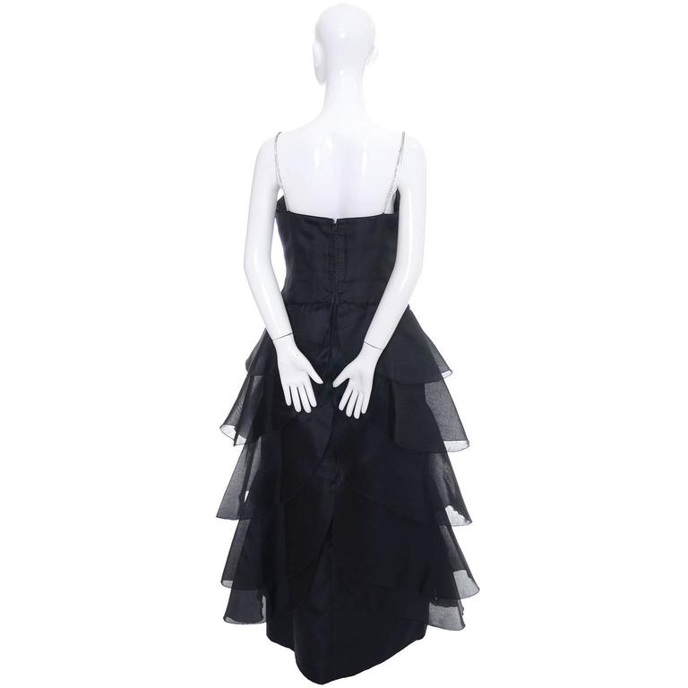 Black Akira Isogawa Silk Vintage Dress Ruffles Rhinestones Australian Designer 10 For Sale