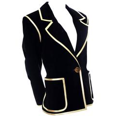 YSL Vintage Black Suede Jacket Gold Leather Trim As New Sz 40 France