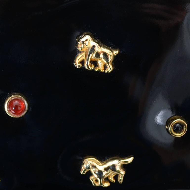 Judith Leiber Vintage Handbag Animals Horse Rhino Monkey Elephant Patent Leather 4