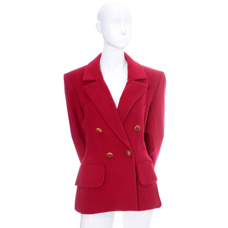 This beautiful, fully lined YSL blazer is in excellent condition and comes from the estate of a Yves Saint Laurent collector.  She originally purchased this jacket in the 1990s and I am now selling many of her YSL pieces.  This jacket has front