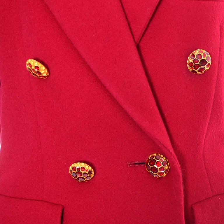 YSL Vintage Yves Saint Laurent Raspberry Red Wool Blazer Jacket In Excellent Condition For Sale In Portland, OR