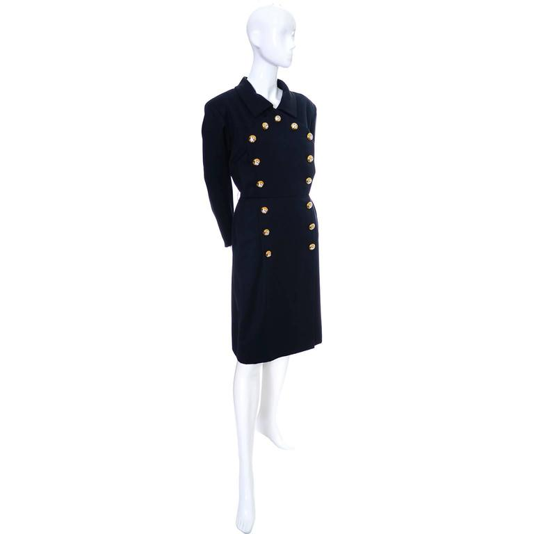 Yves Saint Laurent Vintage YSL Dress Navy Crystal Buttons Saks Fifth Avenue In Excellent Condition For Sale In Portland, OR